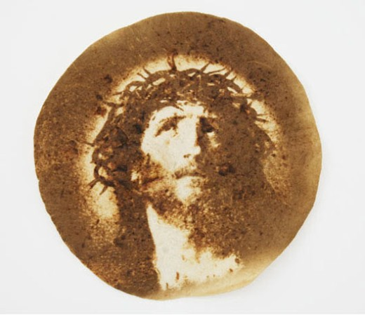 Jesus burned into a tortilla